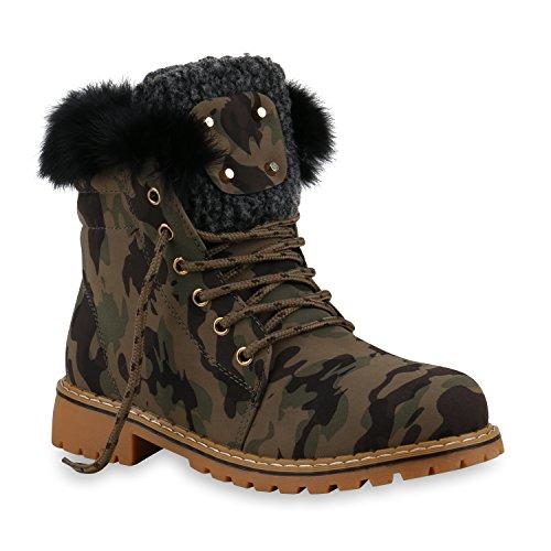 Warm Gefütterte Damen Stiefeletten Fell Outdoor Boots Winter Schuhe 128714 Camouflage 38 Flandell