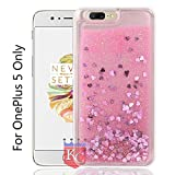 KC Liquid Unique Floating Hearts & Glitter Sparkle Transparent One Plus 5 Case, Soft Sides for OnePlus 5 Back Cover - Pink Colour