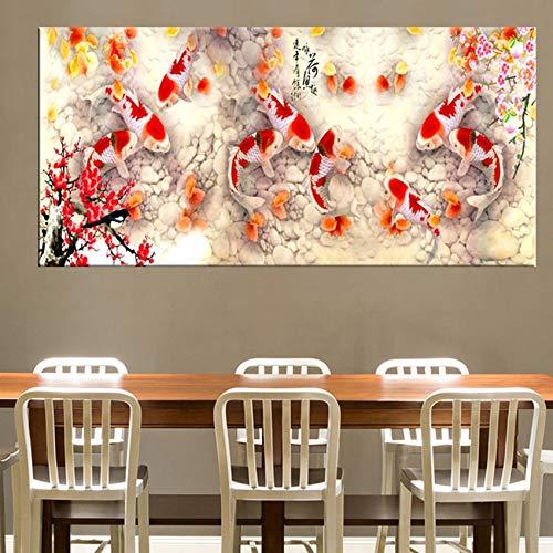 Wsxwga HD Druck Chinesische Abstrakte Neun Koi Fisch Lotus Ölgemälde auf Leinwand Poster Feng Shui Wandkunst Bild Für Wohnzimmer Wohnkultur 40 * 120 cm - Koi Feng-shui Fisch