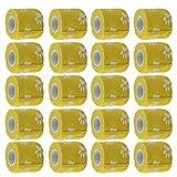 MagiDeal Selbstklebend Verband 5cm für Haustiere Hund Sport – Fixierbinde Haftbandage Flexibel Elastisch Band Binde Bandage – Set mit 20 Gelb Rollen
