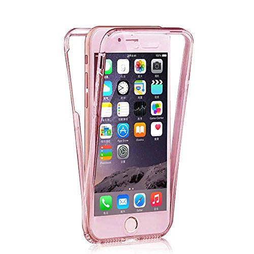 iPhone 8 Plus / iPhone 7 Plus Hülle, MOMDAD Beidseitiger 360°Full Body Schutzhülle für iPhone 8 Plus / iPhone 7 Plus Double Case Cover Telefonkasten Touchscreen TPU Silikon Transparent Front Back Schu QB-ROSE Gold