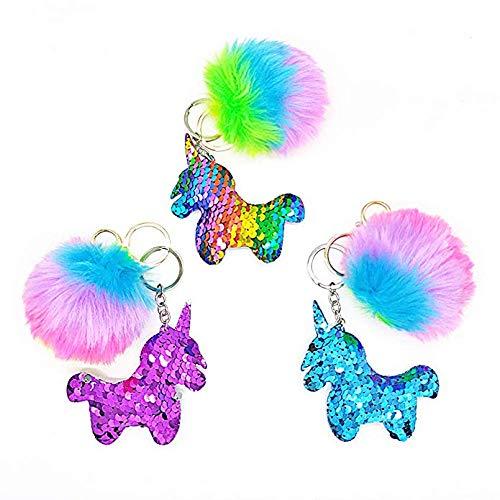QearFun personalizados unicornio llaveros para niñas y felpa mullida arco iris lentejuelas llaveros bolso colgante decoraciones para niños, regalo de SIS (3pcs)