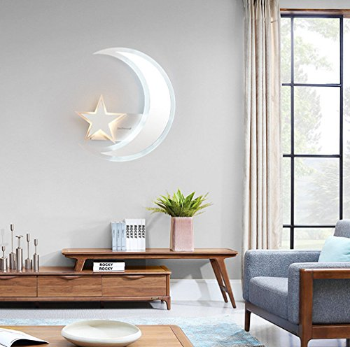YU-K Moderne Dekorative Wandleuchte LED Wandleuchte Acryl Sterne Mond ideal für Bar Restaurant Cafe club Deko Wohnzimmer Schlafzimmer Flur Balkon shop