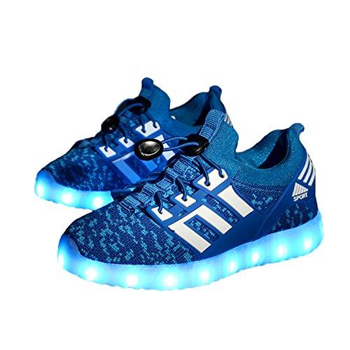 O&N LED Schuhe USB Aufladen Leuchtend Sport Schuhe Sneakers Leichtbau brillant Stil Schuhe fuer Unisex - Kinder