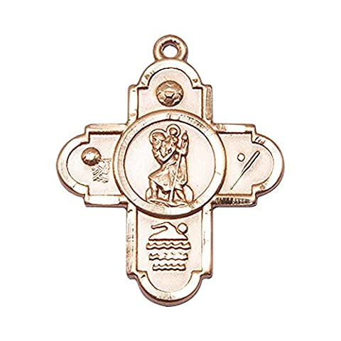 14ct Gold 5-Way St Christopher/Sports Medal. Patron Saint of Travellers/Motorists