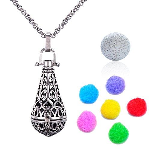 Candyfacny Collier Diffusion d'huile essentielles Aromathérapie pendant parfum naturel avec pierre de lave chaîne de 76.2 cm (Pendentif en forme de larme)