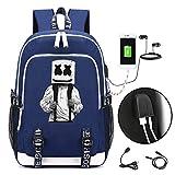 Marshmello Rucksack Schüler Schulrucksack, DJ Marshmello Schule Reisetasche Unisex Kinder Daypacks Laptoptasche mit USB-Ladeanschluss