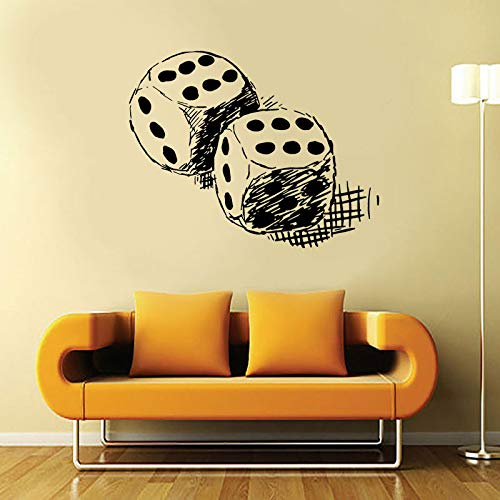 jiushizq Casino Weiß Craps Game Play Wand Vinyl Aufkleber Kunst Aufkleber Wohnkultur Raumgestaltung Wandbild Wasserdicht Abnehmbare Tapete Rot M 53x42 cm