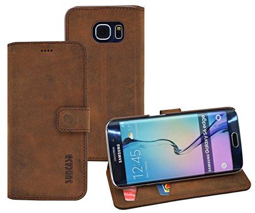 Book-Style Ledertasche Tasche für Samsung Galaxy S6 Edge *ECHT LEDER* Handytasche Case Etui Hülle (Original Suncase) in antik - coffee