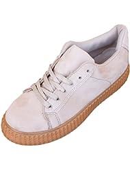 Zapatillas Ante de Mujer Zapato Plano con Plataforma Estilo Casual y Deportivo, Varios Colores