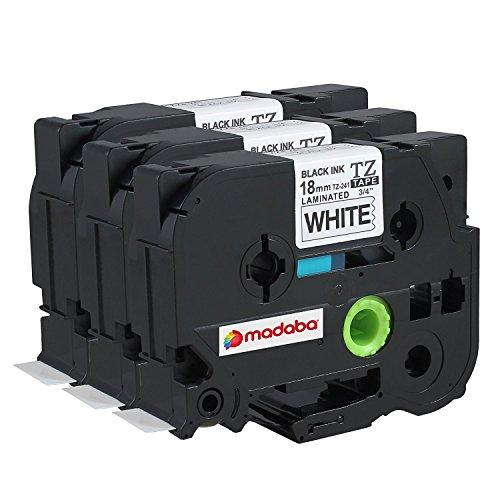 madabcom Pack Kompatibel für Brother P-Touch TZ121TZE121TZ 121TZE 121laminiert Label Makers & Drucker Tape schwarz auf transparent (3/20,3cm X 26,2'9mm x 8m) Black on Green (3 Pack)