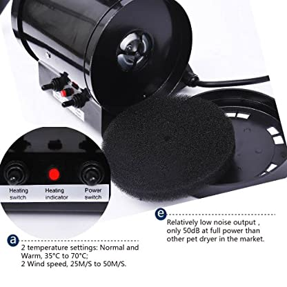 BTM PRIMDAY 2800W Dog Dryer Pet Dog Blaster Fur Grooming Adjust Low Noise Coat Blowdryer Hairdryer High Velocity (Blue) 9