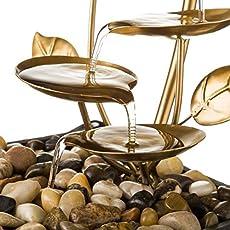 Fuente de Interior de Agua en Metal Dorada Oriental Sol Naciente para decoración – LOLAhome