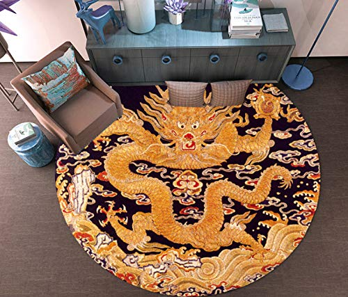 juan Neue Chinesische Runde Teppich Chinesischen Stil Zen Alten Wind Million Wörter Zurück-Print Dragon-Print Teestube Tee Tischset Mode Persönlichkeit Hängenden Korb Stuhl 60 cm X 60 cm - Zurück Print Tee