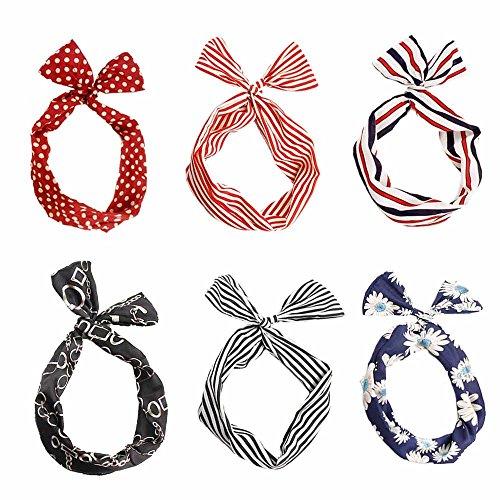Dee Plus Haarband Haargummis 6 Stück Draht biegbar Bunny Ohr binden Bow Stirnband,Multicolor Wrap Twist Stirnband Retro Bowknot Polka Dot Streifen Haar Halter für Frauen und Mädchen,Geschenkbeutel