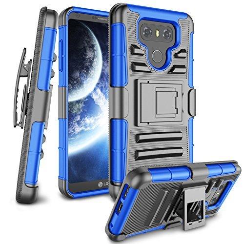 Zectoo LG G6Fall, LG G6Holster Clips, [Heavy Duty] Full Body Armor mit Gürtel Clip Ständer stoßfest, der Hybrid-Schutzhülle für LG G6LG G6H871H782us997vs988, Blau