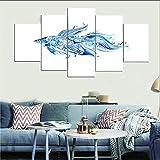 Impresiones De La Lona Arte Pared Peces De Colores Abstractos 5 Piezas Mural Moderno Impresiones Modernas