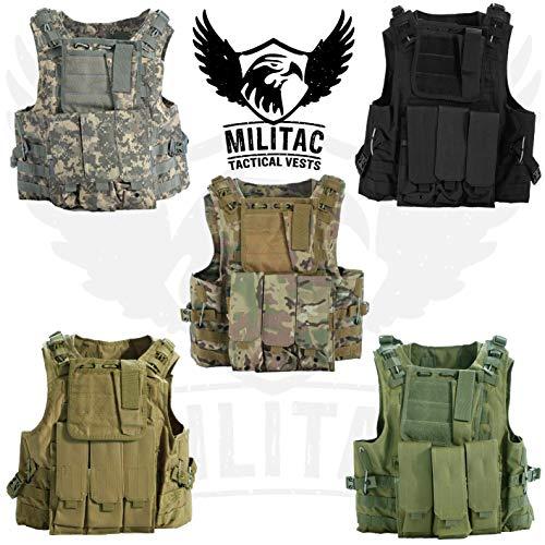 Militac Delta Tactical Vest. Airsoft/Paintball Vest/Molle Combat Assault Vest + Mag Pouches