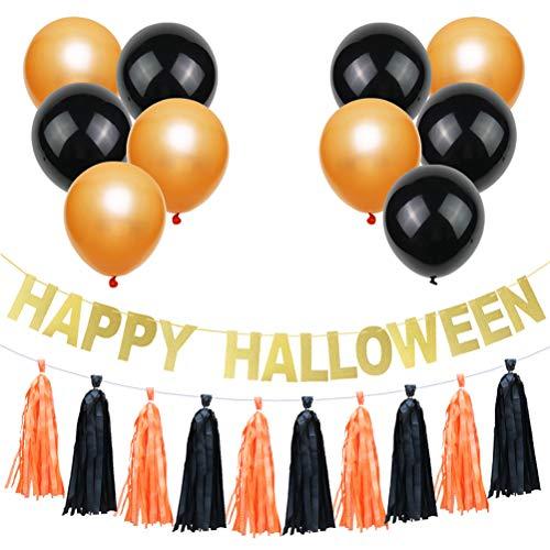 Amosfun 12PCS GLÜCKLICHE Halloween Partei-Latex-Ballon-Fahnen