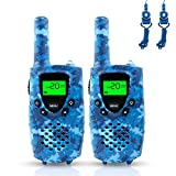 Fairwin Walkie Talkies for Kids, Up to 4KM Range 0.5W 8 Channels 446MHZ Two Way Radios for Children with Flashlight and Backlit LCD Screen, Camo Blue, Great Toy for 3-12 Year Old Boys and Girls