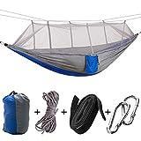Fsskgx Portable Camping Hängematte mit Moskitonetz, Doppel Outdoor Travel Hanging Zelt Bett Fallschirm mit Seilen Riemen Schnalle Tasche für Camping, Backpacking, Überleben, Wandern