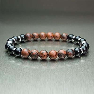 Taille 21-22cm Sublime BRACELET Homme/Femme Perles pierre naturelle Mahogany Obsidian marron 8mm + Agate noir mat (Onyx) + anneaux Acier inoxydable/inox BRACAJUTAN-18