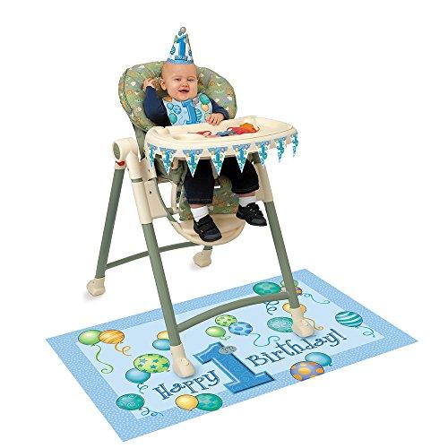 s Dekorations-Set für Hochstuhl mit Luftballons zum 1. Geburtstag, Blau ()