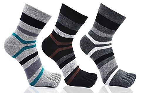 Men's Toe Socks Cotton Running Five Finger Mini Crew Socks,UK 6-9/Eur 39-45 (UK Men's shoes 6-9, 6.Striped-3