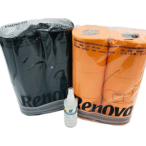 Farbiges schwarzes und oranges Luxus Klopapier von Renova mit Test Bio Reiniger von Kaiserrein