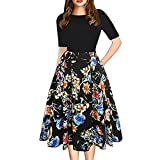 MRULIC Robe Femme de Soiree Fashion Womens Vintage Patchwork Pockets Puffy Swing Print Casual Party Dress