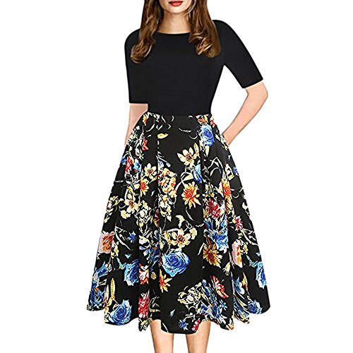 OverDose Damen Urlaub Reisen Stil Mode Womens Vintage Patchwork Taschen Puffy Swing Print Lässige Party Beach Dating Formales Kleid Rock ()