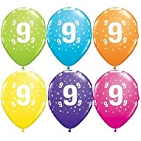 """Age 9 Stars-A-Round 9th Birthday Tropical Assorted 11"""" Qualatex Latex Balloons x 5"""