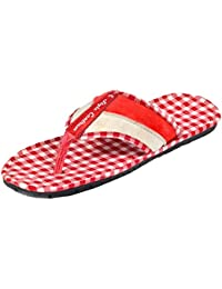 Style centrum Men's Red White Leather Slippers