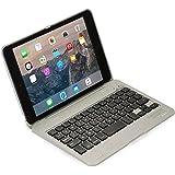 Funda Cooper Cases (TM) Kai Skel con bisagra y teclado para Apple iPad Mini 1/2/3 en Plata (Diseño tipo MacBook, teclado QWERTY inglés americano incorporado, conexión Bluetooth, batería externa, reposo/ activación automático)