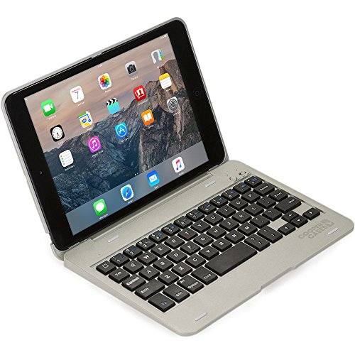 Cooper Cases Funda-Teclado Apple iPad Mini 1 2 3, Cooper Kai SKEL P1 Carcasa Teclado inalámbrico Bluetooth portátil Macbook, 13 atajos, Plateada