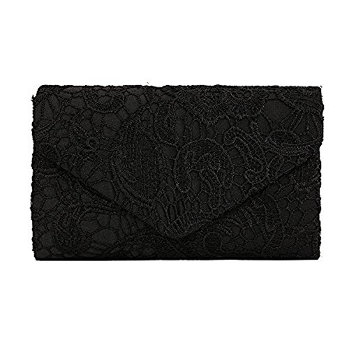 Zarla pochette con motivo floreale in pizzo, Borsa da donna, per abiti da sera, abiti da sera Nero (nero)