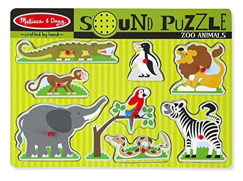 Melissa & Doug - Animales del zoológico, rompecabezas de sonidos (10727)