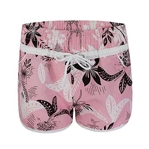 Damen Bade Shorts Blumen Strand Surfboard Schwimm Shorts Rosa
