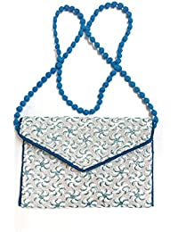 KASIAWomen's Embroidered Handicraft Traditional Sling Bag,Size:23 X 16.5 X 2 Cm(LxWxH),Colour:White & Sky Blue