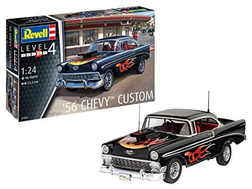 Revell 67663 Model Set '56 Chevy Customs originalgetreuer Modellbausatz für Fortgeschrittene, mit Basis-Zubehör, Mehrfarbig, 1/32 - Motor Chevy Teile
