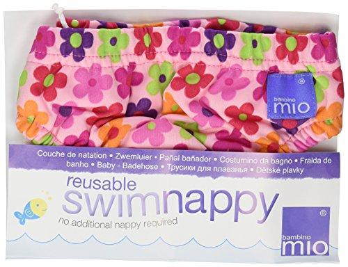 Bambinomio Schwimmwindel Medium pink mit Blumen -