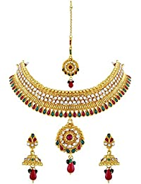 Asmitta Finely Gold Plated Choker Style Necklace Set With Mangtikka For Women