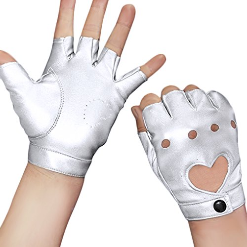 Damen Herren Fingerlos Handschuhe Punk Hip Hop Handschuhe Fäustlinge aus PU Leder für Bühnenauftritte, Party, Club, Festivals, Weihnachten, Silber, Einheitsgröße
