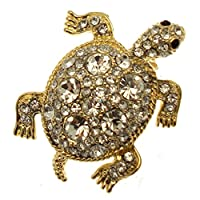 Acosta Brooches - Sparkling Crystal Turtle Brooch (Gold Tone) - Gift Boxed