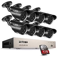 ZOSI 8CH Außen 720P HD Videoüberwachung System mit 1TB Festplatte 8CH 1080N 4in1 HDMI DVR Recorder plus 8 TVI 1.0MP 720P Wasserdicht Überwachungskamera Set, Metallgehäuse, IR Nachtsicht bis 40M