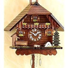 magicaldeco - Reloj de cuco con apagado nocturno, diseño típico de la Selva Negra