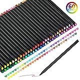 KATELUO Penne Fineliner, 60 Colori Set di Penne Fineliner per Bozzetti Scrittura Disegno per Bullet Journal Appunti e Libri da Colorare
