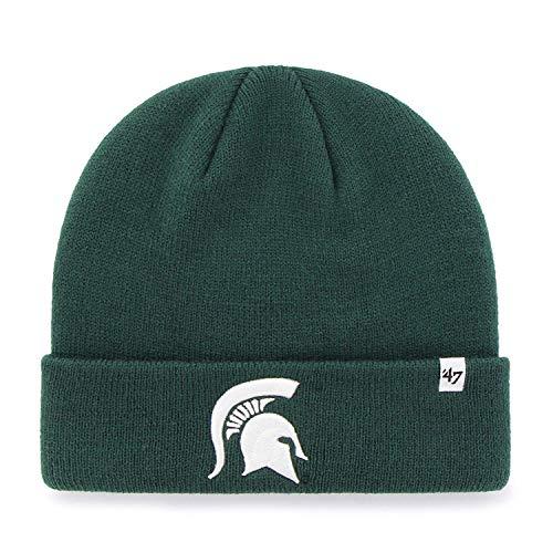 47 Brand Raised Cuff Beanie Mütze - NCAA Knit Cuffed Toque Cap, Herren, Michigan State Spartans - Green New Era Toque