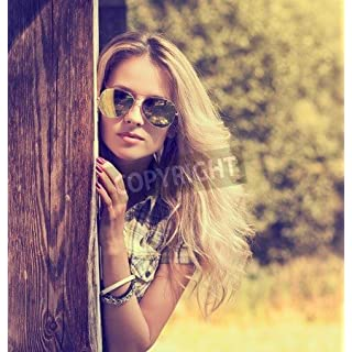 Trendy Hipster Girl in Sunglasses Summer Modern Youth Lifestyle Toned Photo (30358890), Aluminium - Sandwich Panel, 80 x 80 cm