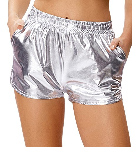 Kate Kasin Sport Yoga Hot Pants Glänzende Metallic Boxer Kurze Hose Splitter (862-3) Medium